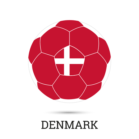 Soccer ball with Danish national colors  and emblem vector illustration