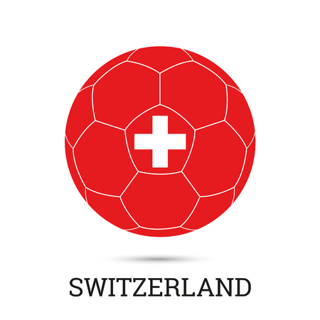 Soccer ball with Swiss national colors and emblem vector illustration Standard-Bild - 102197192