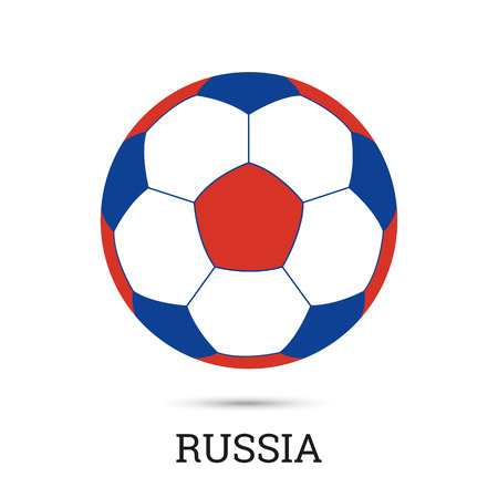 Soccer ball with Russian national colors vector illustration