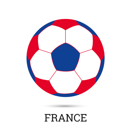 Soccer ball with French national colors  vector illustration