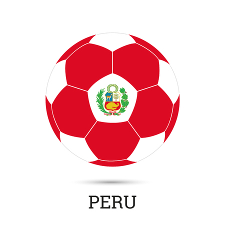 Soccer ball with Peruvian national colors  and emblem vector illustration Ilustração
