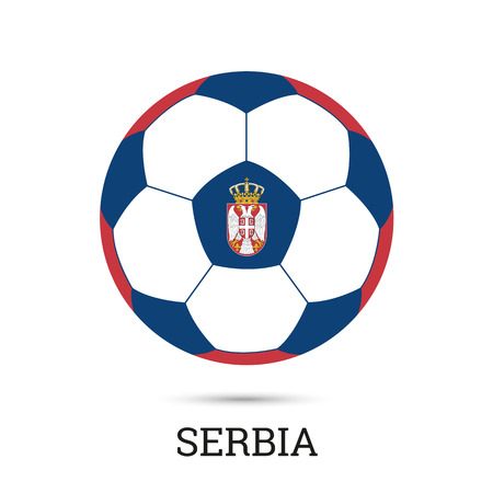 Soccer ball with Serbian national colors and emblem vector illustration Ilustração