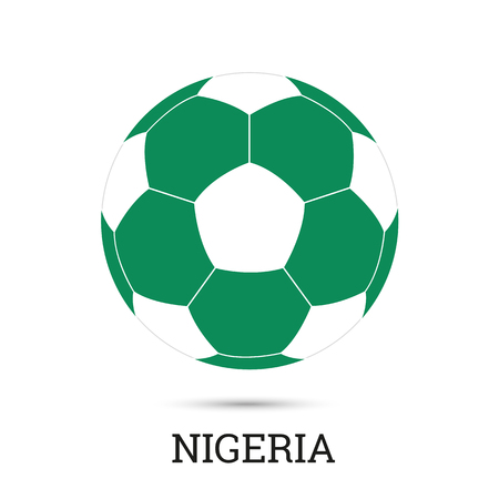 Soccer ball with Nigerian national colors  vector illustration