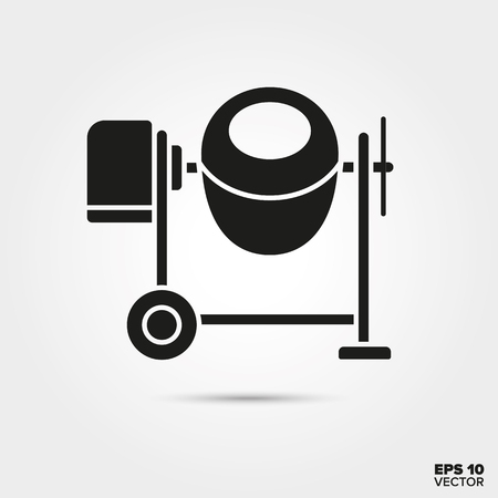portable concrete mixer glyph icon vector