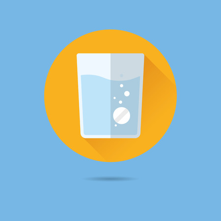 effervescent tablet in glass of water flat design long shadow vector icon