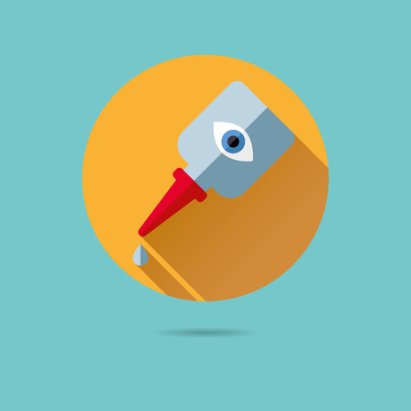 eye drops bottle flat design long shadow vector icon Illustration