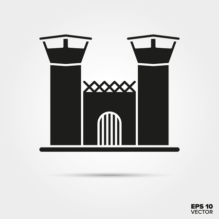 Jail house glyph icon vector. Law enforcement and criminal justice symbol.