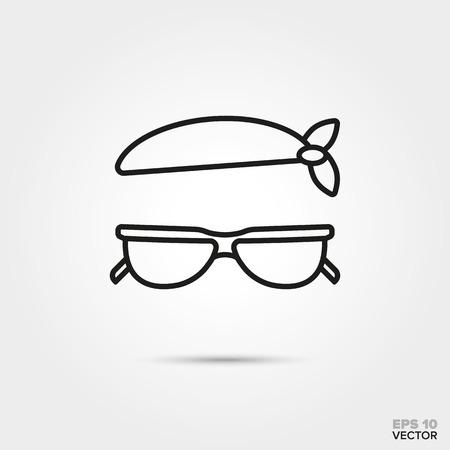 bandana and sunglasses vector line icon. Summer holidays and travel symbol.