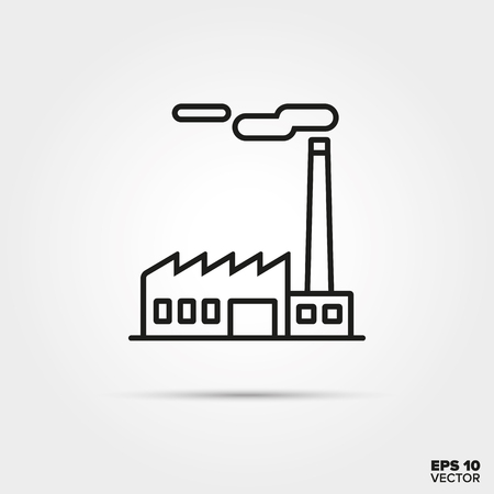 Factory building line icon vector. Industry and pollution symbol. Vettoriali