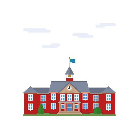 Isolated vector icon of school house building