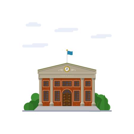 Geïsoleerde vector icoon van classicistisch stadhuis gebouw