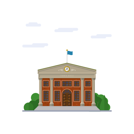 Isolated vector icon of classicist town hall building