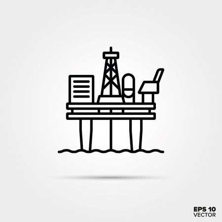 Offshore oil drilling platform line icon vector. Industry symbol.