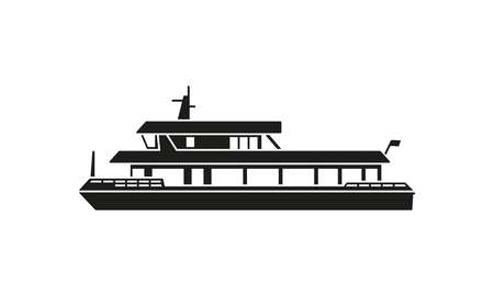 Silhouette of tourist ferry boat Illustration