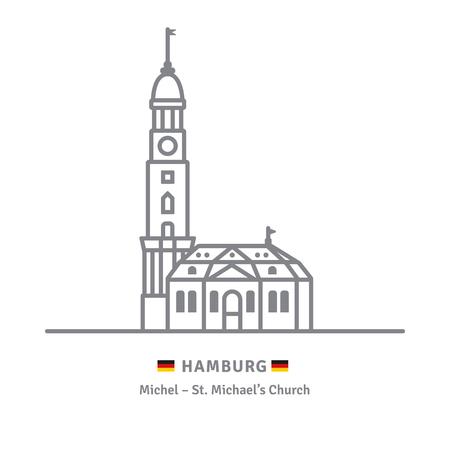 Line icon of Saint Michaels church at Hamburg, Germany with German flags Çizim