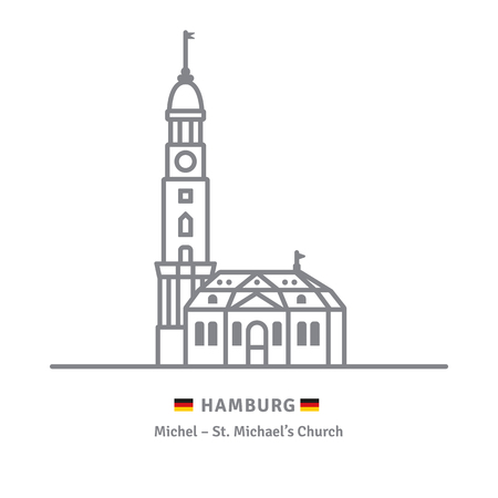 Line icon of Saint Michaels church at Hamburg, Germany with German flags Illustration