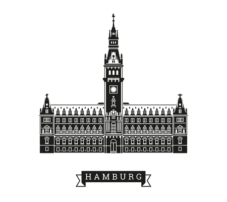 Town hall of Hamburg, Germany. Detailed vector Illustration with banner. Illustration