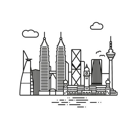 Line Icon style Kuala Lumpur cityscape vector illustration Illustration