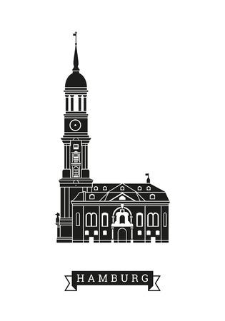 Silhouette vector illustration of Michel, the Saint Michaels church at Hamburg, Germany
