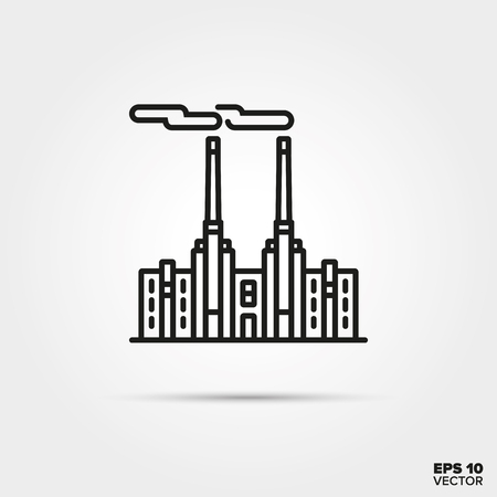 Coal power plant line icon vector. Industry and pollution symbol.  イラスト・ベクター素材