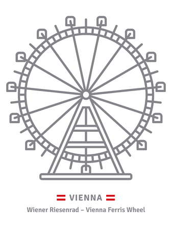 Austria line icon. Prater ferris wheel at Vienna and Austrian flag vector illustration.