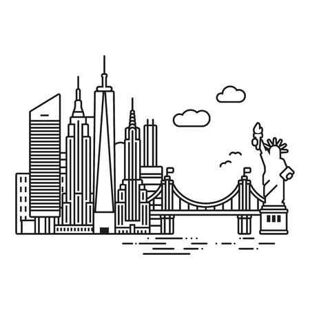 ライン アイコン スタイル ニューヨーク 市のスカイライン ベクトルイラスト