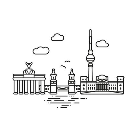 Line Icon style Berlin cityscape vector illustration Ilustração
