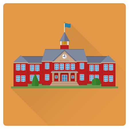 flat design long shadow school house building vector illustration