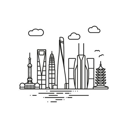 Line Icon style Shanghai cityscape vector illustration  イラスト・ベクター素材