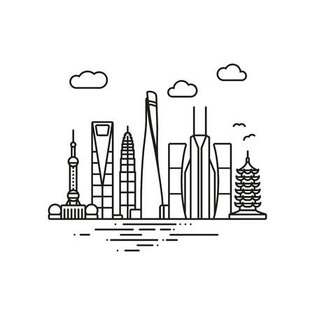 Linie Icon Stil Shanghai Stadtbild Vektor-Illustration Vektorgrafik