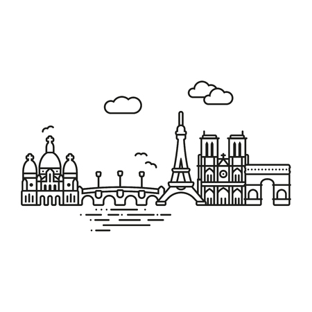 Line Icon style Paris city vector illustration Illustration