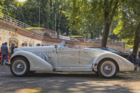 Stade, Germany - July 8, 2018: A vintage 1936 Auburn Speedster Boattail Super-Charged at 5th Summertime Drive US car meeting.
