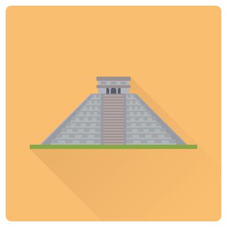 Flat design long shadow vector illustration of Kukulkan pyramiod at Chichen Itza, Mexico