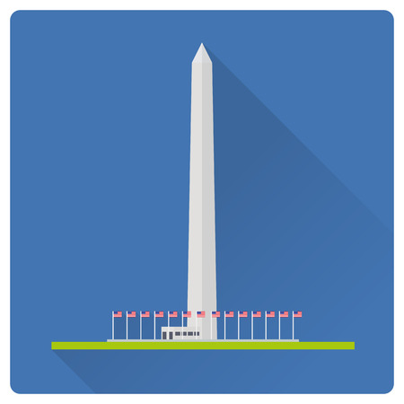 Flat design long shadow vector illustration of the Washington Monument at Washington, D.C, United States of America 向量圖像