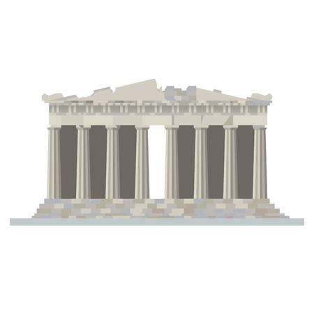 Icona di vettore isolato design piatto del tempio del Partenone alla cittadella dell'Acropoli, Atene, Grecia