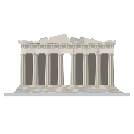 Flat design isolated vector icon of the Parthenon temple at Acropolis citadel, Athens, Greece