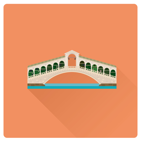 Flat design long shadow vector illustration of Rialto Bridge over Grand Canal at Venice, Italy