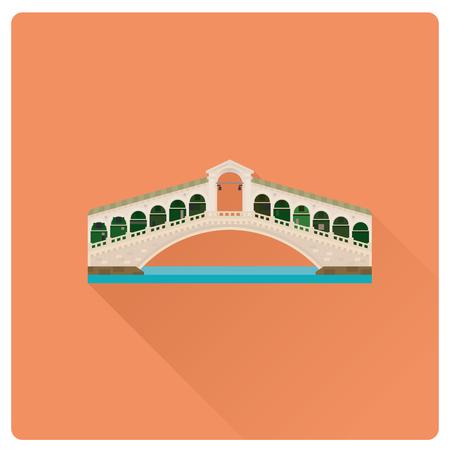 Flat design long shadow vector illustration of Rialto Bridge over Grand Canal at Venice, Italy