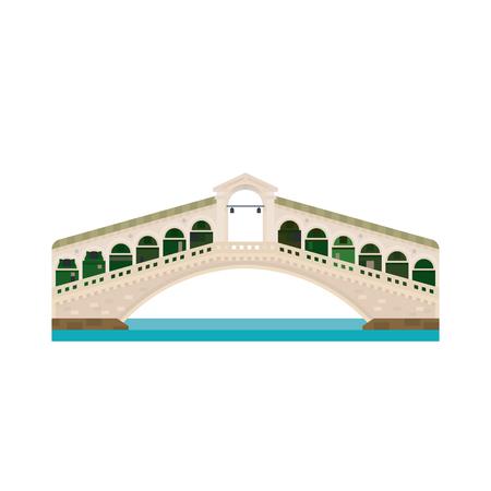 Icono de vector aislado de diseño plano del puente de Rialto sobre el Gran Canal de Venecia, Italia