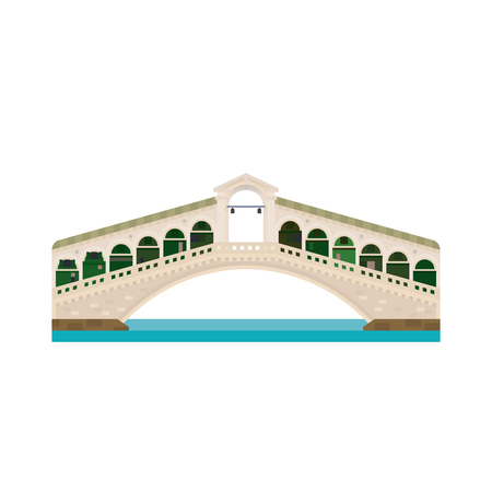 Flat design isolated vector icon of Rialto Bridge over Grand Canal at Venice, Italy Illustration