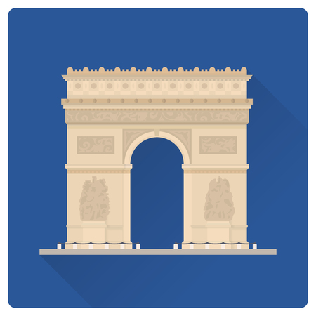 Flat design long shadow vector illustration of Arc de Triomphe, the Triumphal Arch, at Paris, France