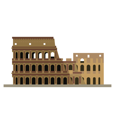 Flat design isolated vector icon of Colosseum ruins, Rome Italy Illustration