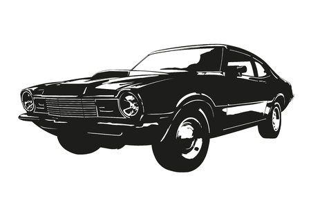 Silhouette of american muscle car, early 1970s, Vector illustration.