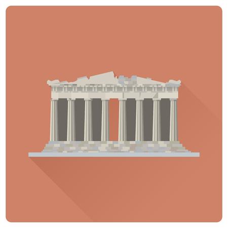 Ilustración de vector de larga sombra de diseño plano del templo del Partenón en la ciudadela de la Acrópolis, Atenas, Grecia