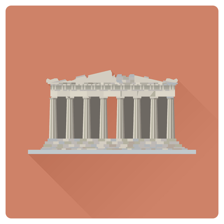 Flat design long shadow vector illustration of the Parthenon temple at Acropolis citadel, Athens, Greece