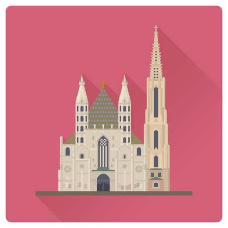Flat design long shadow vector illustration of Saint Stephens Cathedral or Stephansdom at Vienna, Austria