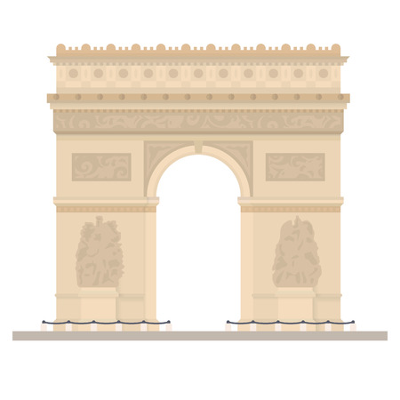 Flat design isolated vector icon of Arc de Triomphe, the Triumphal Arch, at paris, France Ilustrace