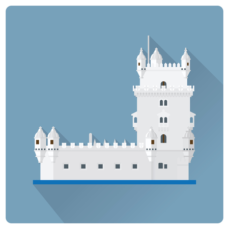 Flat design long shadow vector illustration of Torre de Belem, the Belem Tower, at Lisbon, Portugal