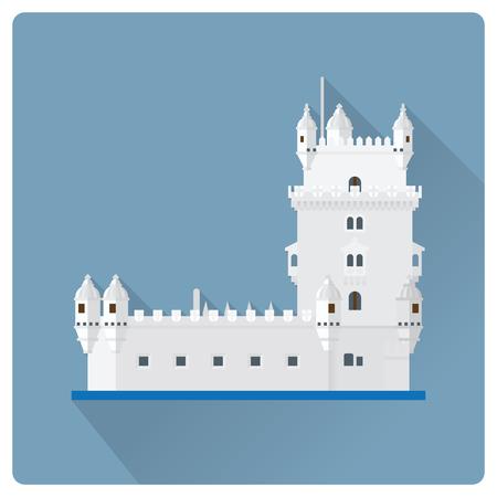 Flat design long shadow vector illustration of Torre de Belem, the Belem Tower, at Lisbon, Portugal Stock fotó - 105627079