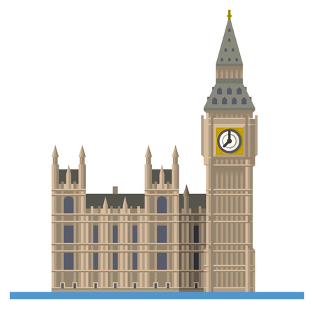 Flat design isolated vector icon of Big Ben, the Elizabeth Tower at Westminster Palace, London, England